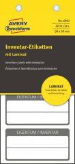 Avery Zweckform No. 6903 fehér színű 60 x 30 mm méretű, öntapadós önlamináló leltár címke fekete színű kerettel, Eigentum / Inventar NR. felirattal - kiszerelés: 40 címke / csomag (Avery 6903)