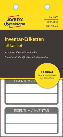Avery Zweckform 6903 kézzel írható öntapadós biztonsági leltár címke Eigentum / Inventar felirattal