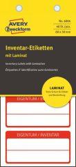 Avery Zweckform No. 6904 fehér színű 60 x 30 mm méretű, öntapadós önlamináló leltár címke piros színű kerettel, Eigentum / Inventar NR. felirattal - kiszerelés: 40 címke / csomag (Avery 6904)