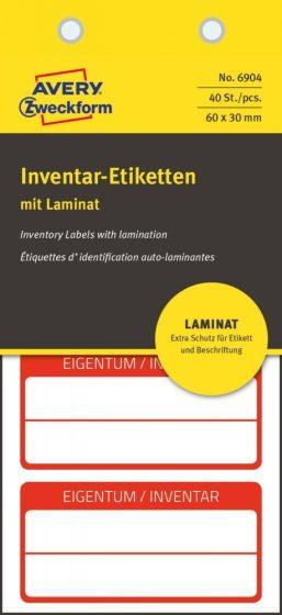Avery Zweckform 6904 kézzel írható öntapadós biztonsági leltár címke Eigentum / Inventar felirattal