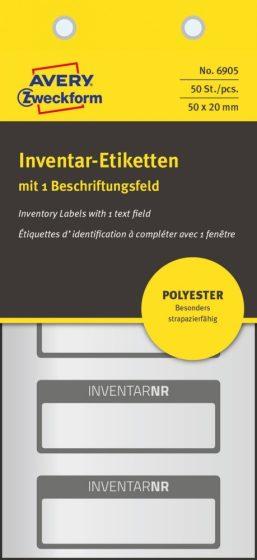 Avery Zweckform 6905 kézzel írható időjárásálló öntapadós leltár címke Inventar Nr. felirattal