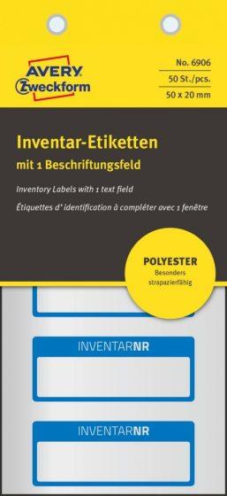 Avery Zweckform 6906 kézzel írható időjárásálló öntapadós leltár címke Inventar Nr. felirattal