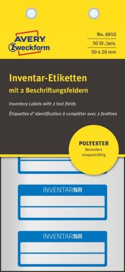 Avery Zweckform 6910 kézzel írható időjárásálló öntapadós leltár címke Inventar Nr. felirattal