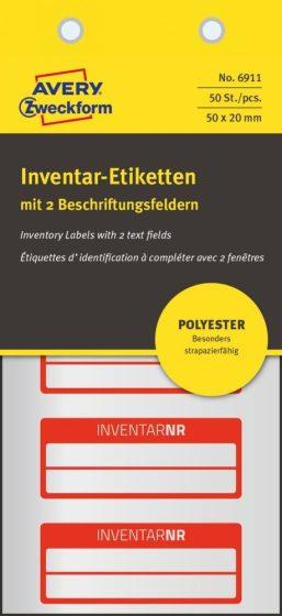 Avery Zweckform 6911 kézzel írható időjárásálló öntapadós leltár címke Inventar Nr. felirattal