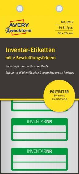 Avery Zweckform 6912 kézzel írható időjárásálló öntapadós leltár címke Inventar Nr. felirattal
