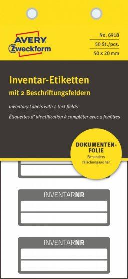 Avery Zweckform No. 6918 fehér színű 50 x 20 mm méretű, biztonsági öntapadós leltár címke fekete színű kerettel, Inventar NR. felirattal - kiszerelés: 50 címke / csomag (Avery 6918)
