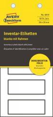Avery Zweckform No. 6919 fehér színű 50 x 20 mm méretű, biztonsági öntapadós leltár címke fekete színű kerettel - kiszerelés: 50 címke / csomag (Avery 6919)