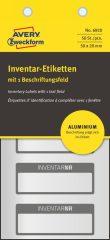 Avery Zweckform No. 6920 ezüst színű 50 x 20 mm méretű, alumínium biztonsági öntapadós leltár címke fekete színű kerettel, Inventar NR. felirattal - kiszerelés: 50 címke / csomag (Avery 6920)