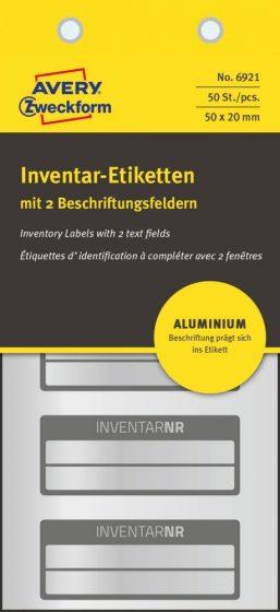 Avery Zweckform No. 6921 ezüst színű 50 x 20 mm méretű, alumínium biztonsági öntapadós leltár címke fekete színű kerettel, Inventar NR. felirattal - kiszerelés: 50 címke / csomag (Avery 6921)