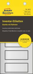 Avery Zweckform No. 6922 ezüst színű 50 x 20 mm méretű, alumínium biztonsági öntapadós leltár címke fekete színű kerettel - kiszerelés: 50 címke / csomag (Avery 6922)