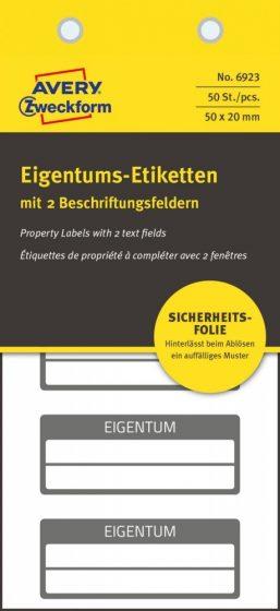 Avery Zweckform No. 6923 fehér színű 50 x 20 mm méretű, biztonsági öntapadós nyilvántartó címke fekete színű kerettel, Eigentum felirattal - kiszerelés: 50 címke / csomag (Avery 6923)