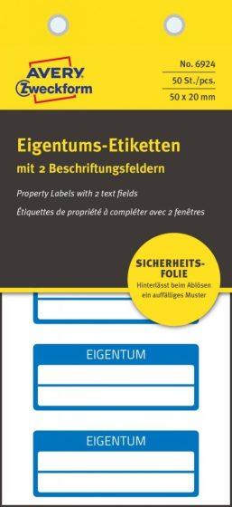 Avery Zweckform 6924 kézzel írható öntapadós biztonsági nyilvántartó címke Eigentum felirattal
