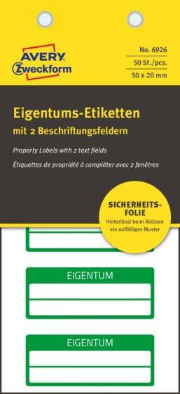Avery Zweckform 6926 kézzel írható öntapadós biztonsági nyilvántartó címke Eigentum felirattal