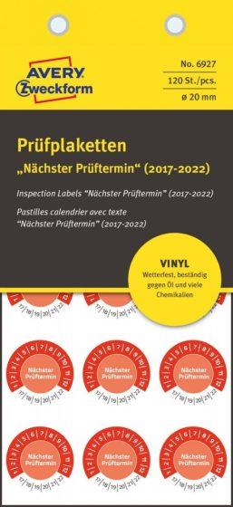 Avery Zweckform No. 6927 piros színű, 20 mm átmérőjű, öntapadós időjárásálló felülvizsgálati címke, 2017-2022-es évszámmal, Nächster Prüftermin felirattal - kiszerelés: 120 címke / csomag