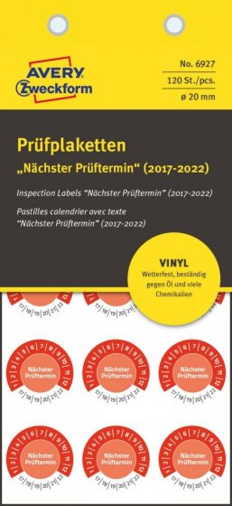 Avery Zweckform 6927 időjárásálló felülvizsgálati címke Nächster Prüftermin felirattal
