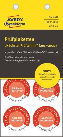 Avery Zweckform 6928 időjárásálló felülvizsgálati címke Nächster Prüftermin felirattal