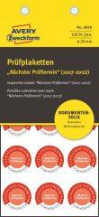 Avery Zweckform No. 6929 piros színű, 20 mm átmérőjű, öntapadós biztonsági hitelesítő címke, 2017-2022-es évszámmal, Nächster Prüftermin felirattal - kiszerelés: 120 címke / csomag