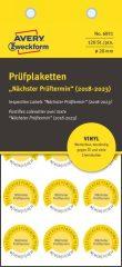 Avery Zweckform No. 6931 sárga színű, 20 mm átmérőjű, öntapadós időjárásálló felülvizsgálati címke, 2018-2023-as évszámmal, Nächster Prüftermin felirattal - kiszerelés: 120 címke / csomag