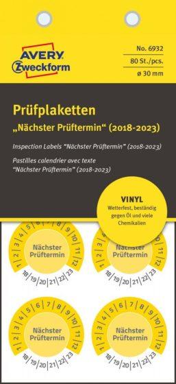 Avery Zweckform 6932 időjárásálló felülvizsgálati címke Nächster Prüftermin felirattal