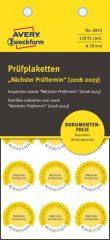 Avery Zweckform No. 6933 sárga színű, 20 mm átmérőjű, öntapadós biztonsági hitelesítő címke, 2018-2023-as évszámmal, Nächster Prüftermin felirattal - kiszerelés: 120 címke / csomag