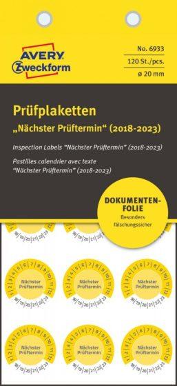 Avery Zweckform 6933 biztonsági hitelesítő címke Nächster Prüftermin felirattal