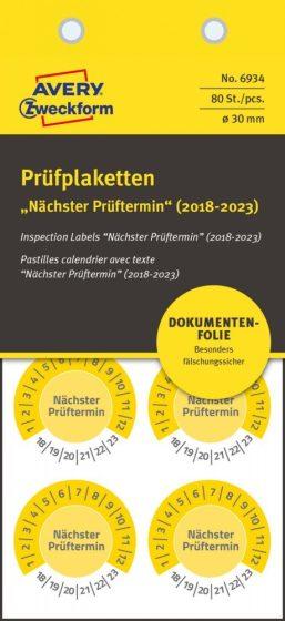 Avery Zweckform No. 6934 sárga színű, 30 mm átmérőjű, öntapadós biztonsági hitelesítő címke, 2018-2023-as évszámmal, Nächster Prüftermin felirattal - kiszerelés: 80 címke / csomag