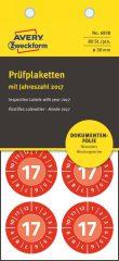 Avery Zweckform No. 6938 piros színű, 30 mm átmérőjű, öntapadós biztonsági hitelesítő címke, 2017-es évszámmal, 12 hónapos beosztással - kiszerelés: 80 címke / csomag