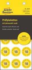 Avery Zweckform No. 6939 sárga színű, 20 mm átmérőjű öntapadós felülvizsgálati címke 2018-as évszámmal - kiszerelés: 120 címke / csomag (Avery 6939)
