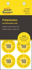 Avery Zweckform No. 6940 sárga színű, 30 mm átmérőjű, öntapadós időjárásálló felülvizsgálati címke, 2018-as évszámmal, 12 hónapos beosztással - kiszerelés: 80 címke / csomag