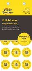 Avery Zweckform No. 6941 sárga színű, 20 mm átmérőjű, öntapadós biztonsági hitelesítő címke, 2018-as évszámmal, 12 hónapos beosztással - kiszerelés: 120 címke / csomag