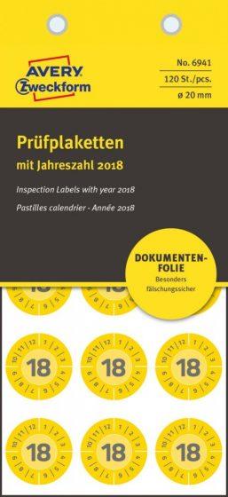 Avery Zweckform 6941 biztonsági hitelesítő címke 2018-as évszámmal