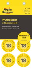 Avery Zweckform No. 6942 sárga színű, 30 mm átmérőjű biztonsági öntapadós hitelesítő címke 2018-as évszámmal - kiszerelés: 80 címke / csomag (Avery 6942)