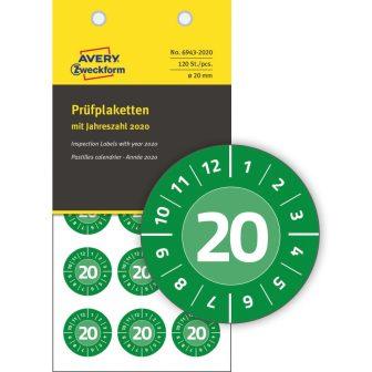 Avery Zweckform No. 6943-2020 zöld színű, 20 mm átmérőjű, öntapadós időjárásálló felülvizsgálati címke, 2020-as évszámmal, 12 hónapos beosztással - kiszerelés: 120 címke / csomag