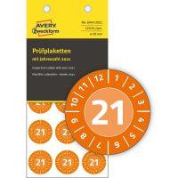 Avery Zweckform No. 6943-2021 narancssárga színű, 20 mm átmérőjű, öntapadós időjárásálló felülvizsgálati címke, 2021-es évszámmal, 12 hónapos beosztással - kiszerelés: 120 címke / csomag