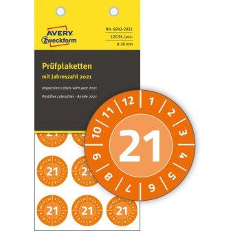 Avery Zweckform 6943-2021 időjárásálló felülvizsgálati címke 2021-es évszámmal
