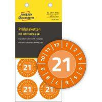 Avery Zweckform No. 6944-2021 narancssárga színű, 30 mm átmérőjű, öntapadós időjárásálló felülvizsgálati címke, 2021-es évszámmal, 12 hónapos beosztással - kiszerelés: 80 címke / csomag