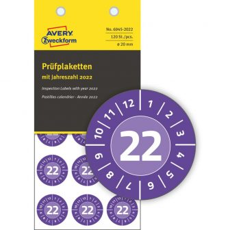 Avery Zweckform No. 6945-2022 ibolyakék színű, 20 mm átmérőjű, öntapadós biztonsági hitelesítő címke, 2022-es évszámmal, 12 hónapos beosztással - kiszerelés: 120 címke / csomag
