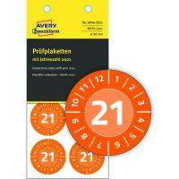 Avery Zweckform No. 6946-2021 narancssárga színű, 30 mm átmérőjű, öntapadós biztonsági hitelesítő címke, 2021-es évszámmal, 12 hónapos beosztással - kiszerelés: 80 címke / csomag