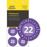 Avery Zweckform No. 6946-2022 ibolyakék színű, 30 mm átmérőjű, öntapadós biztonsági hitelesítő címke, 2022-es évszámmal, 12 hónapos beosztással - kiszerelés: 80 címke / csomag