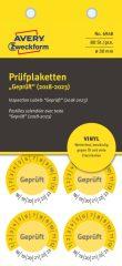 Avery Zweckform No. 6948 sárga színű, 30 mm átmérőjű, öntapadós időjárásálló felülvizsgálati címke, 2018-2023-as évszámmal, Geprüft felirattal - kiszerelés: 80 címke / csomag