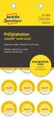 Avery Zweckform No. 6949 sárga színű, 20 mm átmérőjű, öntapadós biztonsági hitelesítő címke, 2018-2023-as évszámmal, Geprüft felirattal - kiszerelés: 120 címke / csomag