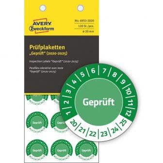 Avery Zweckform 6953-2020 biztonsági hitelesítő címke Geprüft felirattal