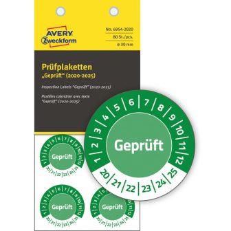 Avery Zweckform No. 6954-2020 zöld színű, 30 mm átmérőjű, öntapadós biztonsági hitelesítő címke, 2020-2025-ös évszámmal, Geprüft felirattal - kiszerelés: 80 címke / csomag