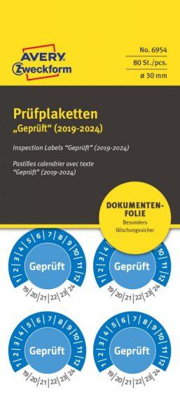 Avery Zweckform No. 6954 kék színű, 30 mm átmérőjű, öntapadós biztonsági hitelesítő címke, 2019-2024-es évszámmal, Geprüft felirattal - kiszerelés: 80 címke / csomag