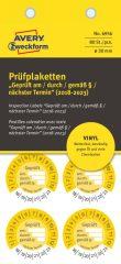 Avery Zweckform No. 6956 sárga színű, 30 mm átmérőjű, öntapadós időjárásálló felülvizsgálati címke, 2018-2023-as évszámmal, Geprüft am/durch/gemäß § felirattal - kiszerelés: 80 címke / csomag