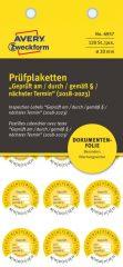 Avery Zweckform No. 6957 sárga színű, 20 mm átmérőjű, öntapadós biztonsági hitelesítő címke, 2018-2023-as évszámmal, Geprüft am/durch/gemäß § felirattal - kiszerelés: 120 címke / csomag