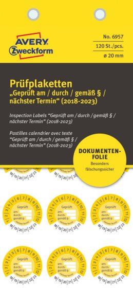 Avery Zweckform 6957 biztonsági hitelesítő címke Geprüft am/durch/gemäß § felirattal