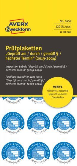 Avery Zweckform No. 6959 kék színű, 20 mm átmérőjű, öntapadós időjárásálló felülvizsgálati címke, 2019-2024-es évszámmal, Geprüft am/durch/gemäß § felirattal - kiszerelés: 120 címke / csomag
