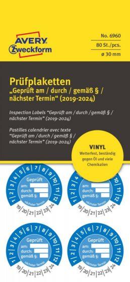 Avery Zweckform 6960 időjárásálló felülvizsgálati címke Geprüft am/durch/gemäß § felirattal