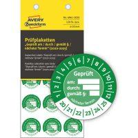 Avery Zweckform No. 6961-2020 zöld színű, 20 mm átmérőjű, öntapadós biztonsági hitelesítő címke, 2020-2025-ös évszámmal, Geprüft am/durch/gemäß § felirattal - kiszerelés: 120 címke / csomag